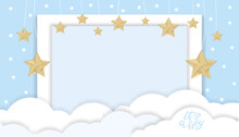 Vector Illustration For Baby Boy Shower Card With Clouds And Stars Hanging On Blue Background, Cute Paper Cut With Copy Space For Baby's Photos,