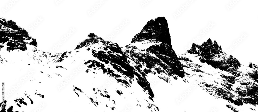 Fototapeta Mountains silhouette on the white background