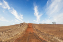A Red Dirt Road Going Uphill Dividing Fenced Pasture Land In A Brown Springgtime Landscape In South Dakota USA