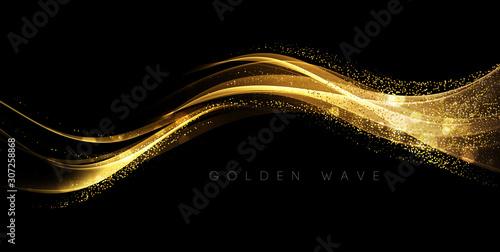 Comics Abstract shiny color gold wave design element