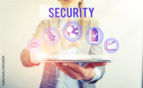 Photo Conceptual hand writing showing Security