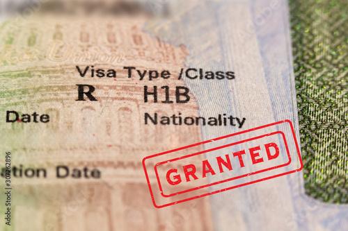 Canvastavla Granted stamp on passport visa page
