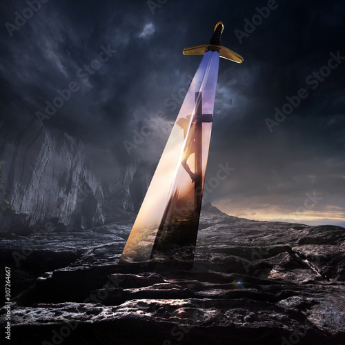 Fotografia Sword and Jesus on the Cross