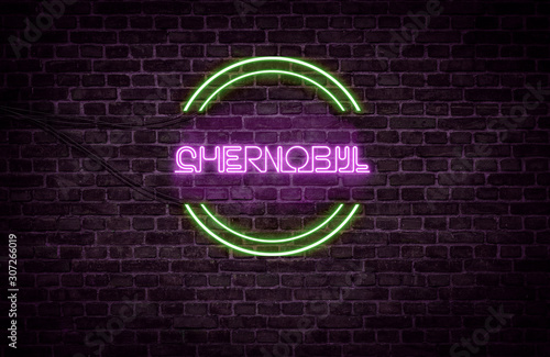 Photo  A green and purple neon light sign that reads: chernobyl