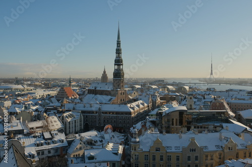 Riga City St.Peter Church, Down town Cathedral winter day Canvas Print
