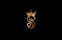 Letter S Linked Monogram Crown King Logotype