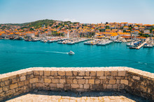 Adriatic Sea And Harbor View From Kamerlengo Castle And Fortress In Trogir, Croatia