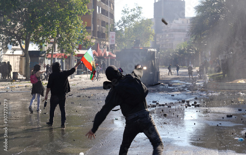 Social unrest in Chile DSC01619 Canvas Print