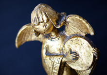 Gold Angel Statue Singing And ...