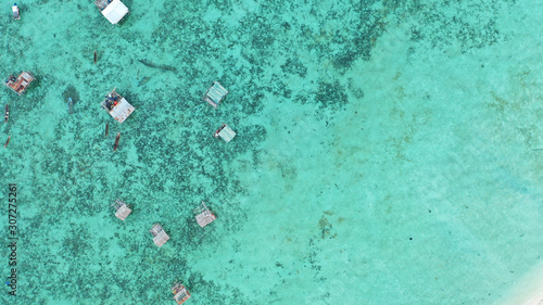 Foto auf Leinwand Reef grun Aerial view beautiful landscape, island and blue ocean in Semporna, Sabah, Malaysia also the home of nomadic sea gypsy.
