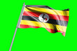 Leinwanddruck Bild - Uganda Flag on Flagpole. Waving Rippled Flag Pole in the Wind.Design llustration in Silk Fabric Texture. Isolated on Chroma Key Green Screen Background