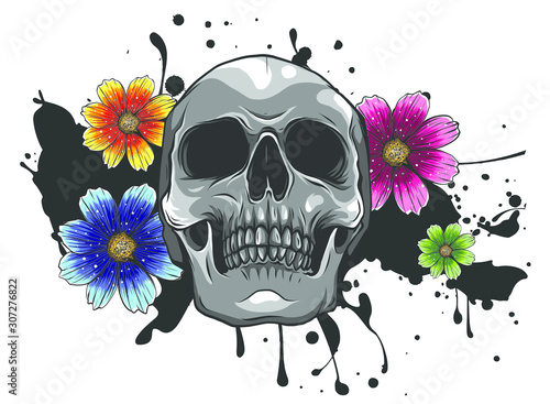 Photo sur Toile Crâne aquarelle Skull and Flowers Day of The Dead, Vintage Vector illustration