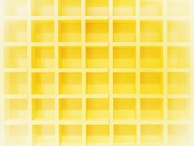 Abstract Background And Wallpaper.yellow Wall Built In Is Designed To Have Many Small Square Box With Depth And Convex Dimensions.The Wall Is Made Of Fiber