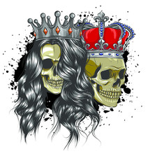 King And Queen Of Death. Portrait Of A Skull With A Crown.