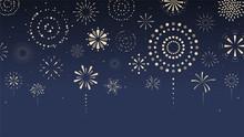 Fireworks, Firecracker At Night. Cartoon Style. Vector Illustration.