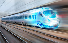 High Speed Train Runs On Rail ...