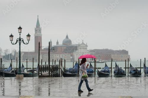 view to San Giorgio Maggiore Venice during aqua alta Wallpaper Mural