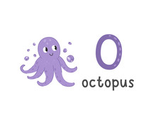 Vector Illustration Of Alphabet Letter O And Octopus