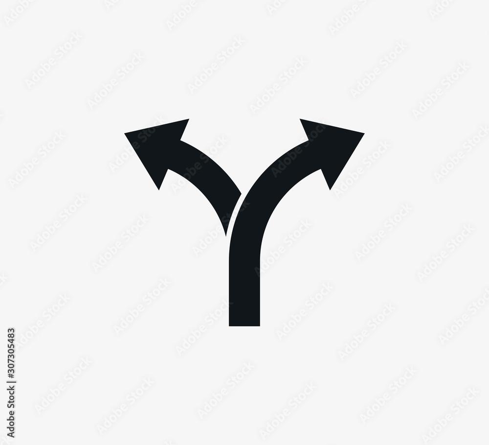 Fototapeta Arrow, two way, direction icon. Vector illustration, flat design