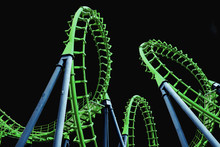 Colorful  Roller Coaster Isolated On Black Background