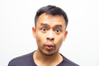 Portrait of amazing facial expression asian men face on white background