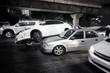 car crash in middle of road make terrible traffic jam