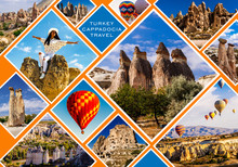 Cappadocia Collage. Flying Air Ballons, Love And Rose Valley, Fairy Chimneys, Pashabag.