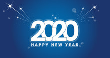 Happy 2020 New Year Color Bann...
