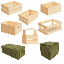 Set Of Isolated Wooden Package...