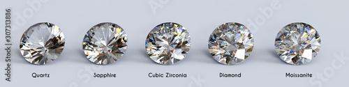 Fototapeta Diament  diamond-substitutes-in-comparison-on-white-background