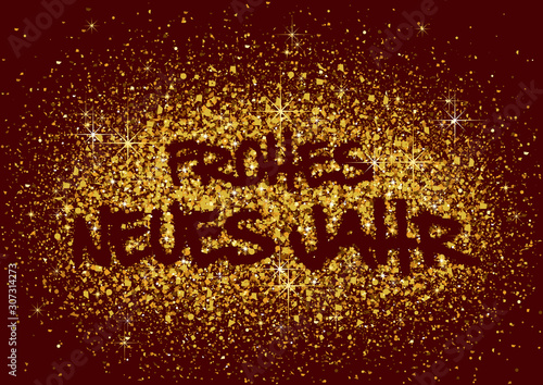 German Happy New Year Greeting with Gold Glitters on Red Background - Festive Il Canvas-taulu