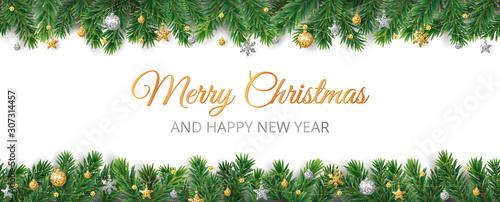 Fototapeta Vector Christmas decoration. Christmas tree border, frame with golden ornaments. obraz na płótnie