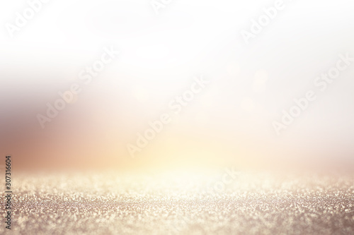 abstract background of glitter vintage lights . silver, purple and white. de-focused
