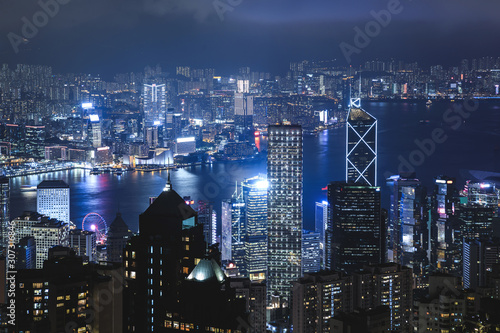 Night Hong Kong view from the Victoria peak hill. Wallpaper Mural
