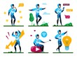 Young Man Daily Routine, Active Lifestyle Trendy Flat Vector Concepts, Life Situations Set. Male Teenager, Guy Chatting in Social Networks, Eating Sweets, Filling Stress, Generating Ideas Illustration