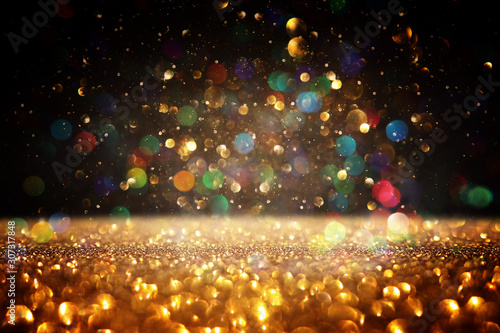 Recess Fitting India background of abstract glitter lights. gold and black. de focused