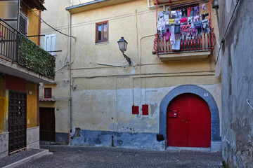 Teano, Italy, 11/30/2019. A street among the old houses of a medieval village