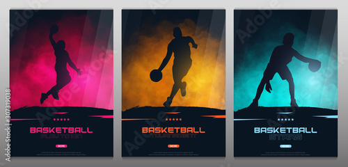 Set of Basketball banners with players. Modern sports posters design.