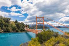 Bertran Lake And General Carrera Lake Bridge And Mountains Beautiful Landscape, Chile, Patagonia, South America