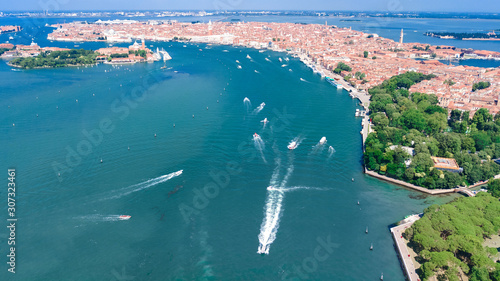 Venetian lagoon and cityscape of Venice city aerial drone view from above, Italy Tableau sur Toile
