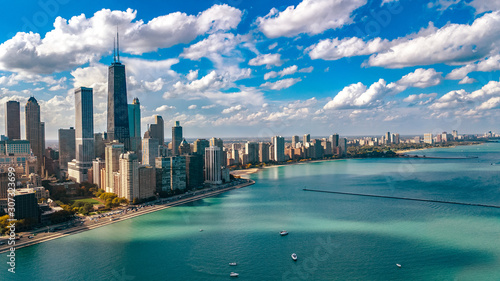 Fotomural Chicago skyline aerial drone view from above, city of Chicago downtown skyscrape