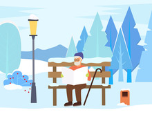 Senior Character Sitting On Snowy Bench And Holding Newspaper In Winter Park. Male Character In Glasses Reading Paper Outdoor. Older Human Walking Near Fir-trees With Snow-falling Weather Vector