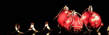Christmas Red Ball With Gold R...