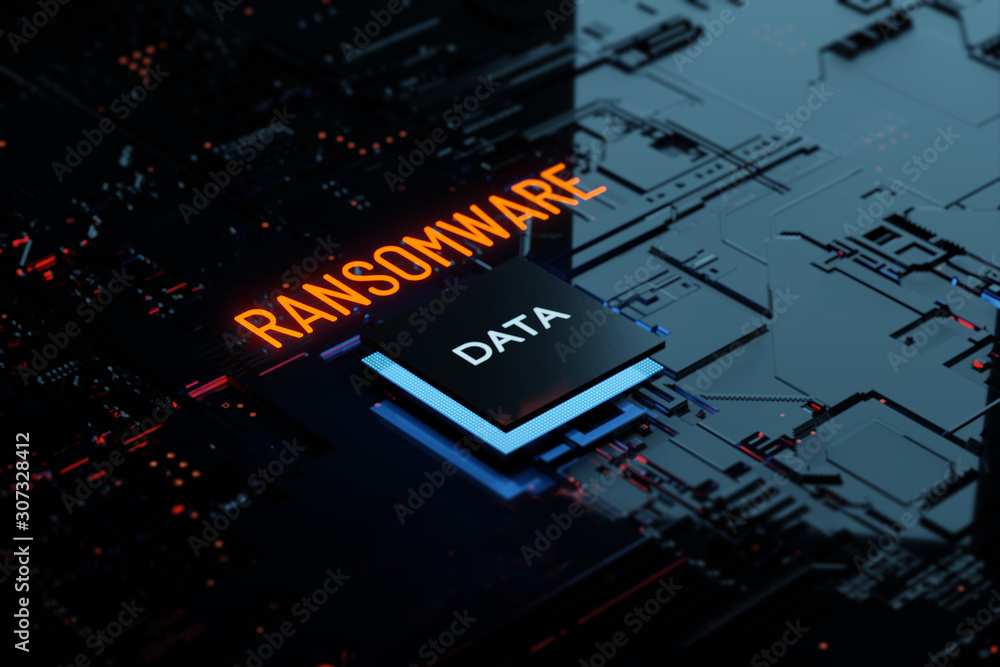 Fototapeta 3D rendering Glowing text Ransomware attack on Computer Chipset. spyware, malware, virus trojan, hacker attack Concept