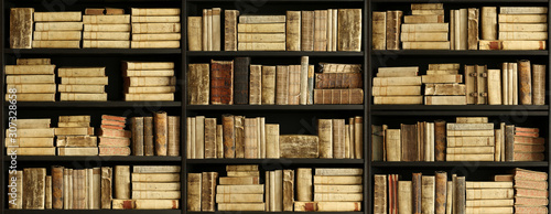 antique books on old wooden shelf. Canvas Print