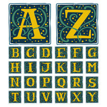 Renaissance Alphabet In Dim Vintage Colors.