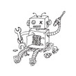 Hand drawn Brocken Robot Isolated on White background Vector