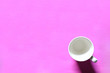 canvas print picture - white cup on pink background