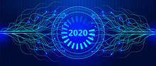 2020 New Year Banner. Digital Future Waves In Cyberspace With Grid. AI Technology And Futuristic Background Vector For Web.