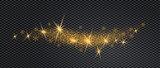 Stardust wave is glittering. Christmas golden confetti with golden glow on background. Xmas banner with glitter effect